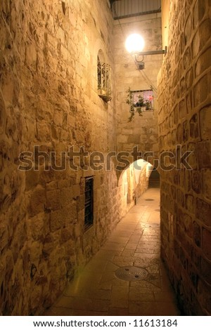 Night street in the old city of Jerusalem.