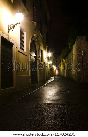 Night Street in the Old Town - stock photo
