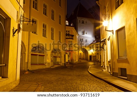 Night Street in the Old Town of Tallinn, Estonia - stock photo
