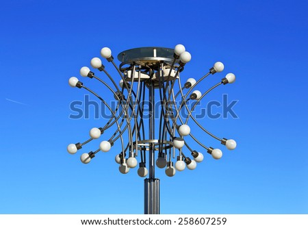Night street lamp made of metal and plastic - stock photo