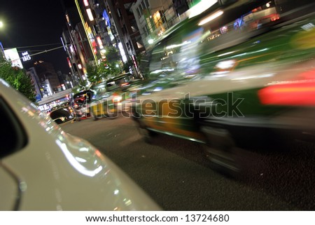 Night streets of Tokyo night life, motion blur - stock photo