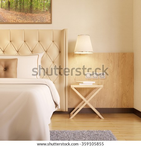 Night table with lamp next to bed in a hotel room (3D Rendering) - stock photo