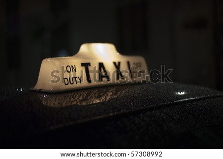 Night Taxi Cab - stock photo