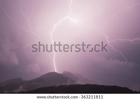 Night thunderbolt in mountains
