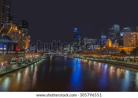 Night time at  Yarra River,  Melbourne city, Victoria, Australia. - stock photo