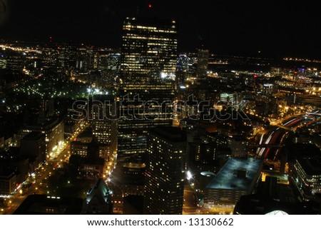 Night time cityscape view of downtown Boston, Massachusetts - stock photo