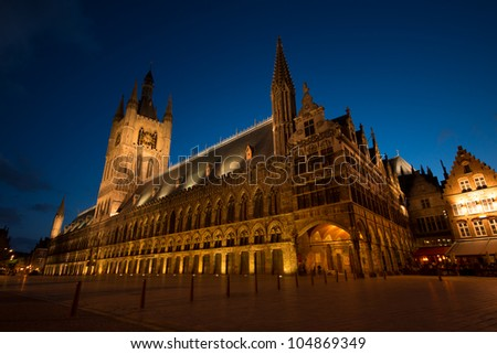 Night time illumination of the Cloth Hall in Ypres, Belgium.