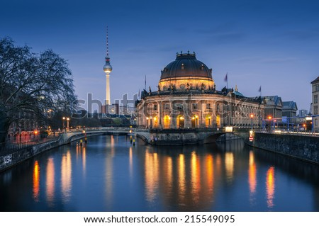 night time illuminations of the Museum Island in Berlin, Germany. - stock photo