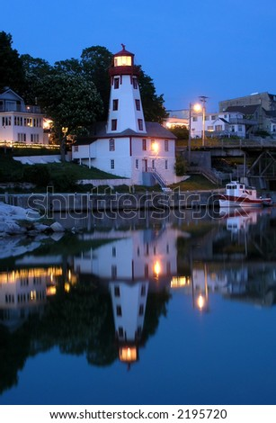 Night time.  Lighthouse in Kincardine during the night. From Series Lighting Houses of Western Ontario. - stock photo