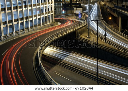 Night-time long exposure shot of the central motorway at Newcastle upon Tyne, England.