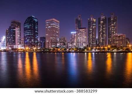Night time of city, urban and lake view.