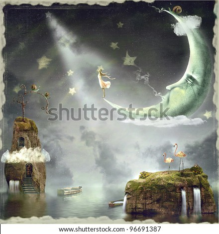 Night. Time of miracles and magic - stock photo