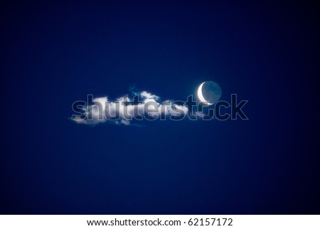 night time sky with moon - stock photo