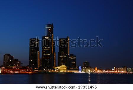 Night time skyline of Detroit, Michigan - stock photo