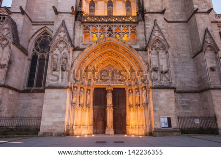 night time view cathedrale saint andre Bordeaux - stock photo