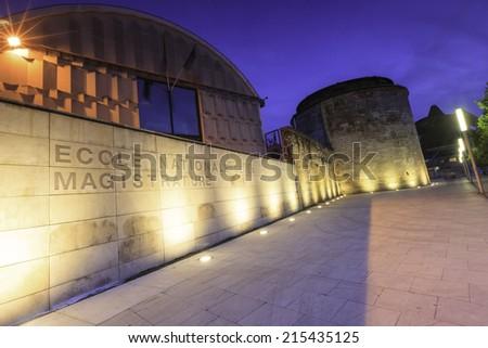 night time view ecole nationale de la magistrature,  Bordeaux France - stock photo