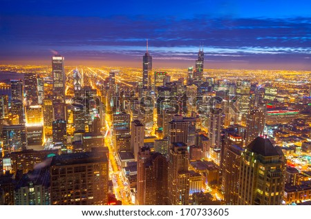 Night time view of downtown Chicago - stock photo
