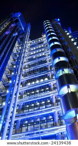Night time view of the Lloyds Building in the City of London.