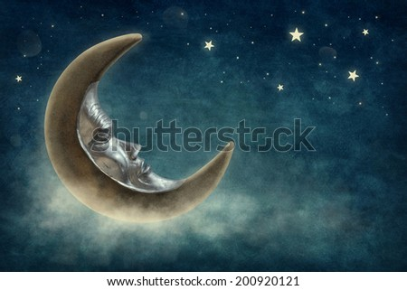 Night time with stars and moon - stock photo