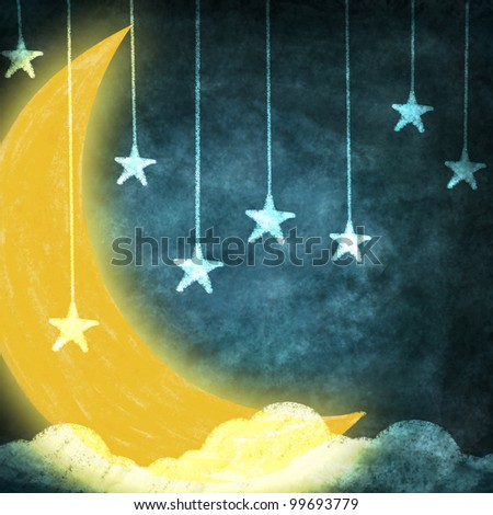 night time with stars and moon drawing - stock photo