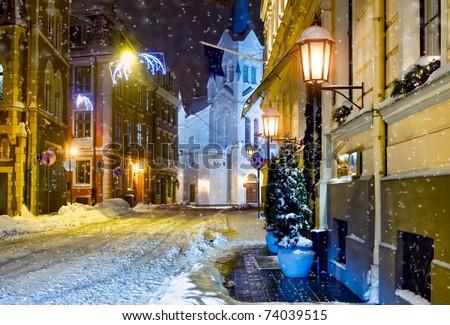 Night town. Riga, Latvia - stock photo