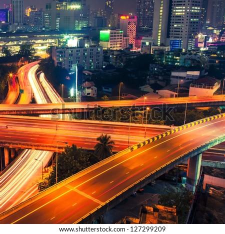 Night traffic and city - stock photo