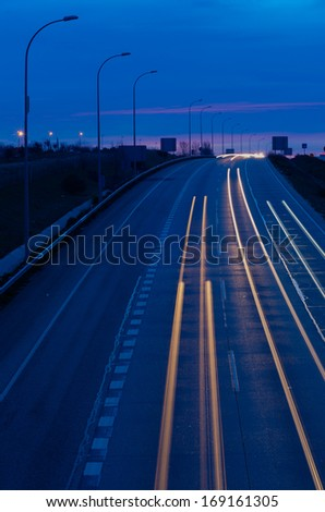 night traffic in an spanish fast road. Night lights