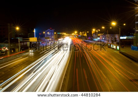 night traffic in Beijing, China