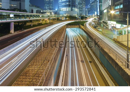Night Traffic in Hong Kong City