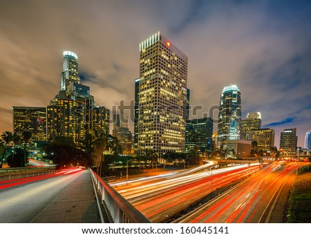 Night traffic in Los Angeles - stock photo