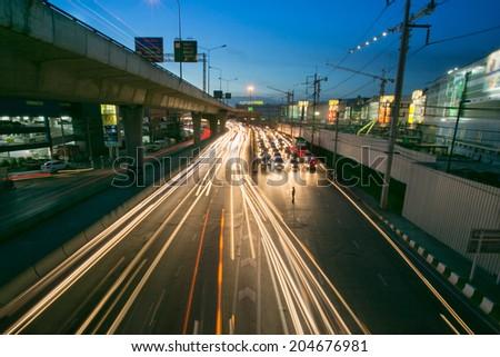 Night traffic in Phathumtani ,Bangkok - stock photo