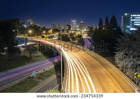 Night traffic in Portland, Oregon, USA - stock photo