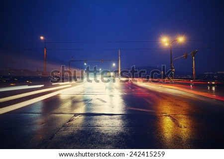 Night traffic in the city, Prague - blurred motion - stock photo