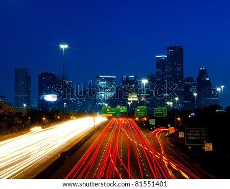 Night traffic into downtown Houston, Texas - stock photo