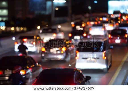 Night Traffic Jam - stock photo