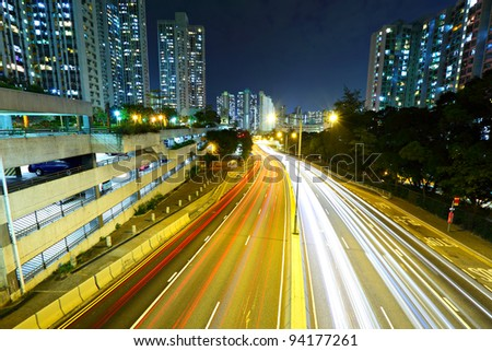 night traffic light trail