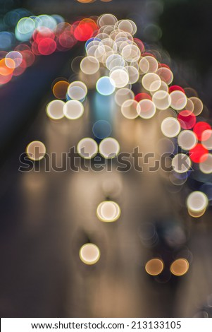 Night traffic lights in the city - stock photo