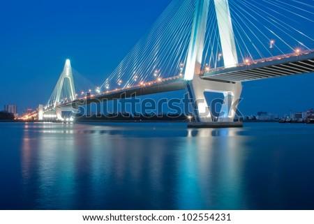 Night traffic lights inside of the Garden Bridge of china - stock photo