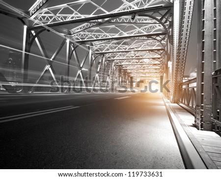 Night traffic lights inside of the Garden Bridge of shanghai china. - stock photo