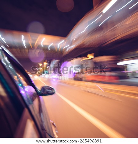 Night traffic of highway driving car - stock photo