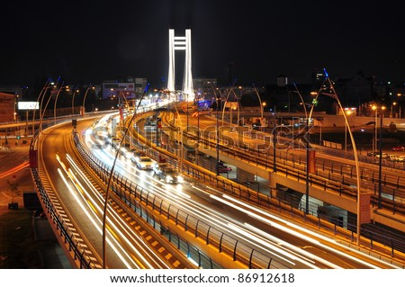 Night traffic on Basarab bridge, Bucharest, Romania - stock photo