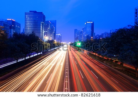 night traffic on the street  in beijing,China