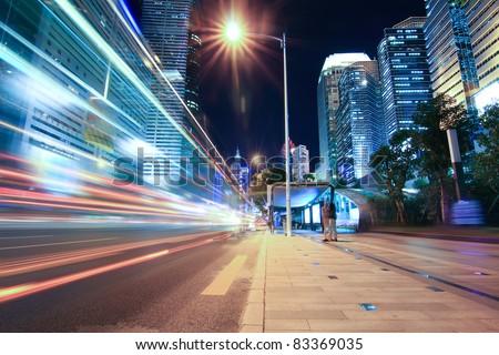night traffic on the street in shenzhen,China - stock photo