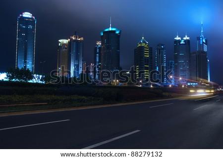 night traffic on the street of Shanghai, China - stock photo