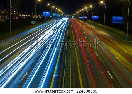 night traffic. red and white lights - stock photo