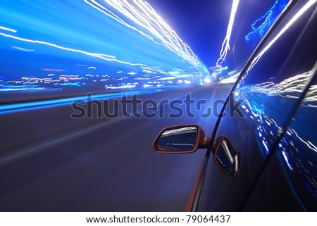 Night traffic,shoot from the window of rush car,motion blur steet light.