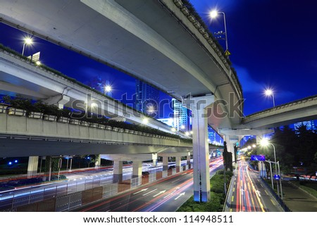 night traffic under the viaduct in shanghai