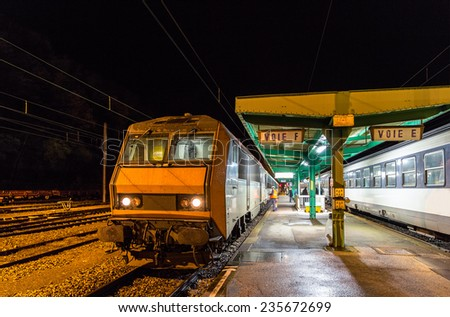 Night train to Nice in Culmont-Chalindrey station, France - stock photo