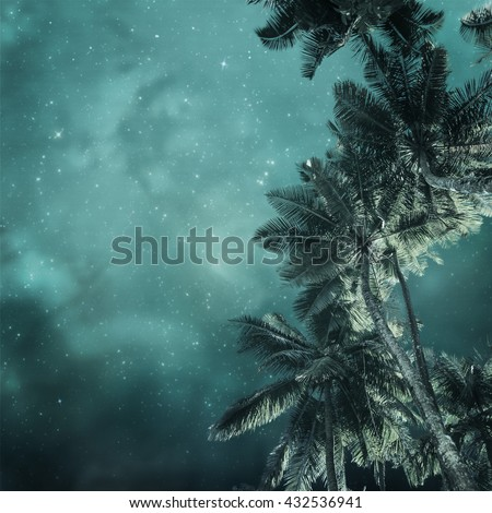 night tropic background in vintage style - stock photo
