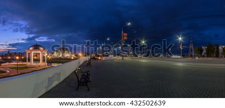 Night Tula street wide angle view with rotunda, Arms museum and Upa river bridge. Photo taken in may 2016. - stock photo